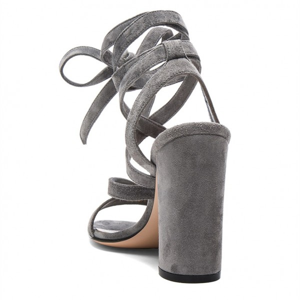 Women's Grey Soft Suede Chunky Heel Strappy Sandals image 2
