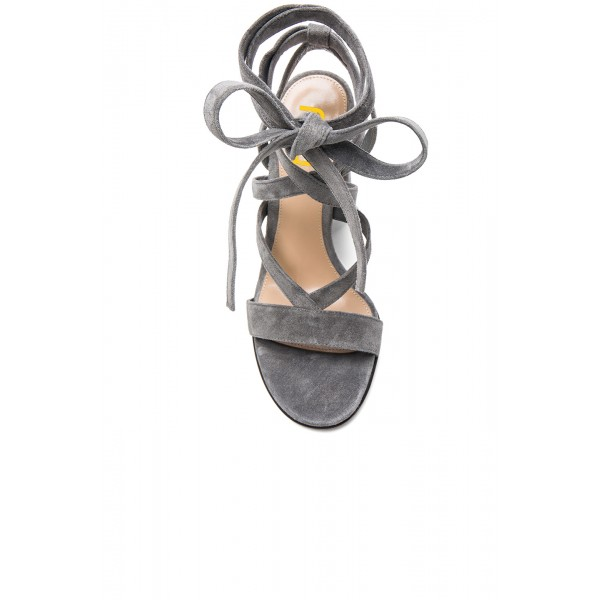 Women's Grey Soft Suede Chunky Heel Strappy Sandals image 4