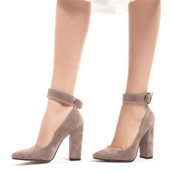 Grey Suede Ankle Strap Chunky Heel