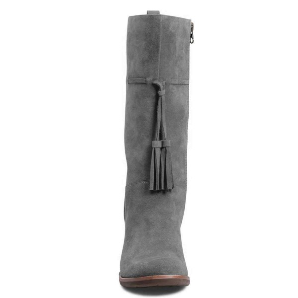 Grey Suede Boots Tassel Chunky Heel Mid Calf Boots image 2