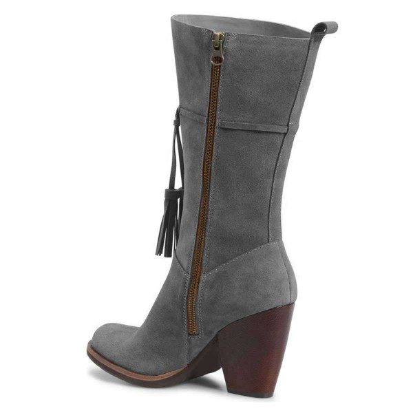 Grey Suede Boots Tassel Chunky Heel Mid Calf Boots image 4
