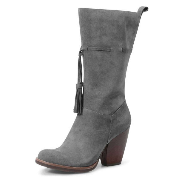 Grey Suede Boots Tassel Chunky Heel Mid Calf Boots image 1