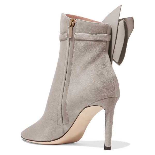 Grey Suede Bow Stiletto Heel Ankle Booties image 2