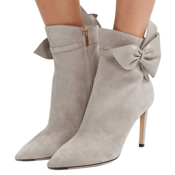 Grey Suede Bow Stiletto Heel Ankle Booties image 1