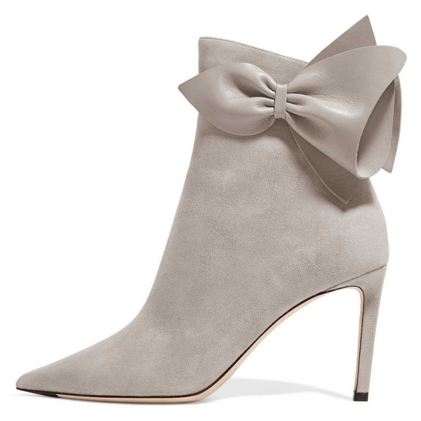 Grey Suede Bow Stiletto Heel Ankle Booties image 3