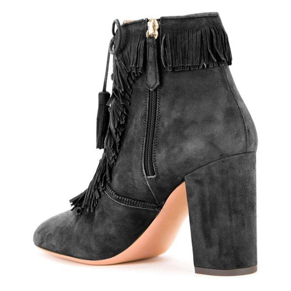 Grey Suede Chunky Heel Lace Up Tassel Fringe Boots image 3