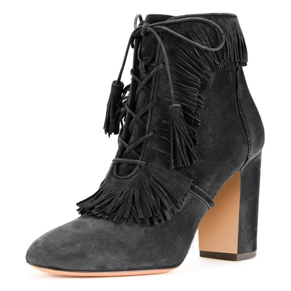 Grey Suede Chunky Heel Lace Up Tassel Fringe Boots image 1