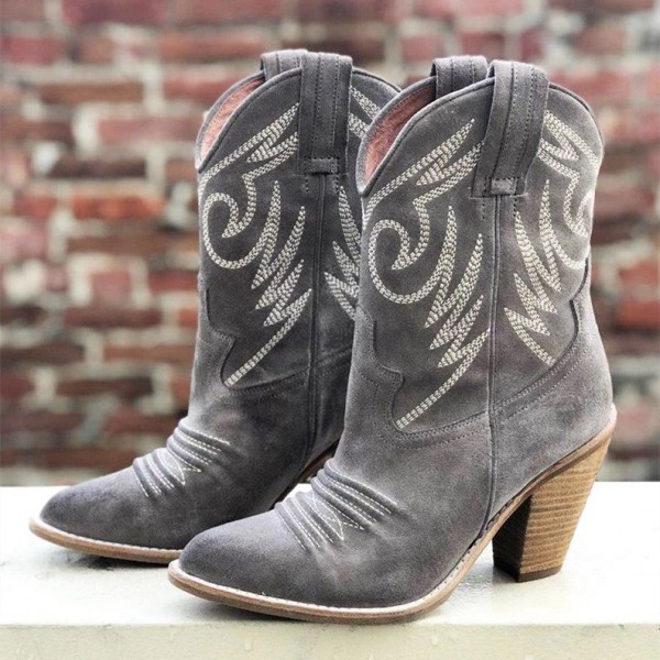 Grey Suede Cowgirl Boots Chunky Heel Mid-Calf Boots image 1