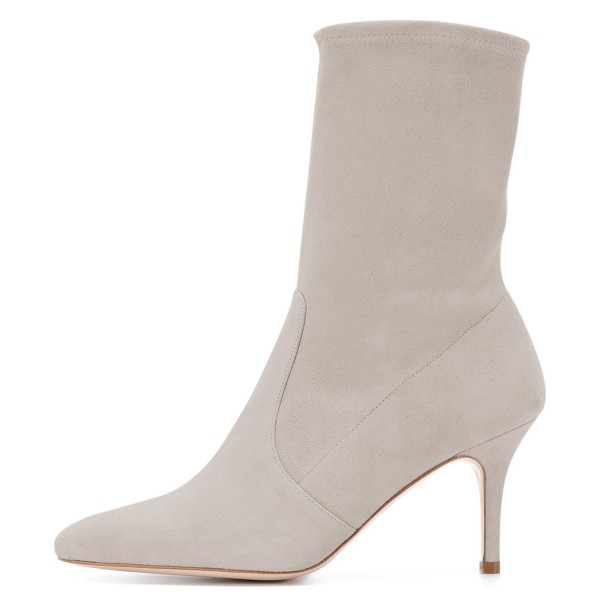 Grey Suede Fashion Boots Pointy Toe Stiletto Heel Ankle Boots image 3