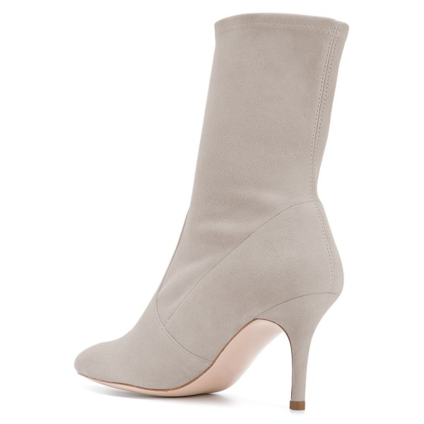 Grey Suede Fashion Boots Pointy Toe Stiletto Heel Ankle Boots image 4