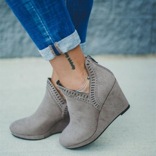 Grey Suede Hollow Out Platform Wedge Booties image 1