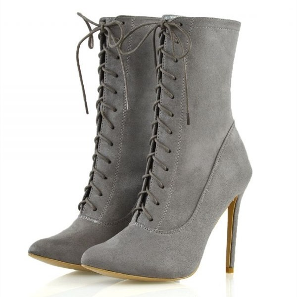 f7502f3118 Grey Suede Lace Up Boots Stiletto Heel Ankle Boots for Party, Music ...