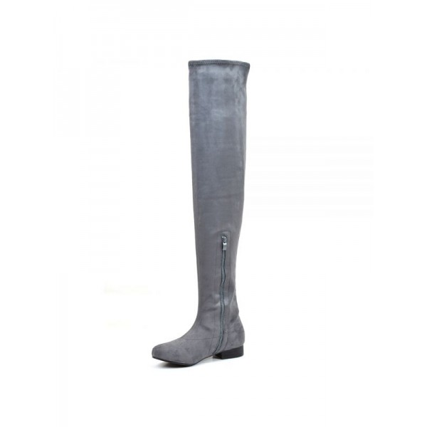 Grey Suede Long Boots Flat Over-the-knee Boots image 2