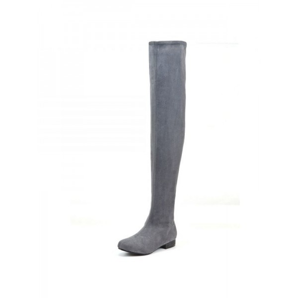 Grey Suede Long Boots Flat Over-the-knee Boots image 1