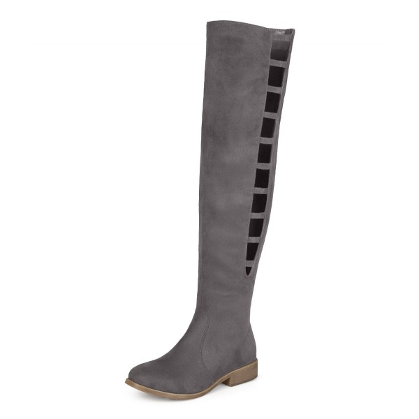 Grey Suede long Boots Round Toe Flat Knee-high Boots image 1