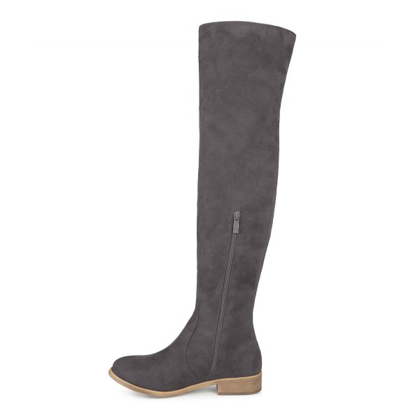 f534f24bd3880 ... Grey Suede long Boots Round Toe Flat Knee-high Boots image 3 ...