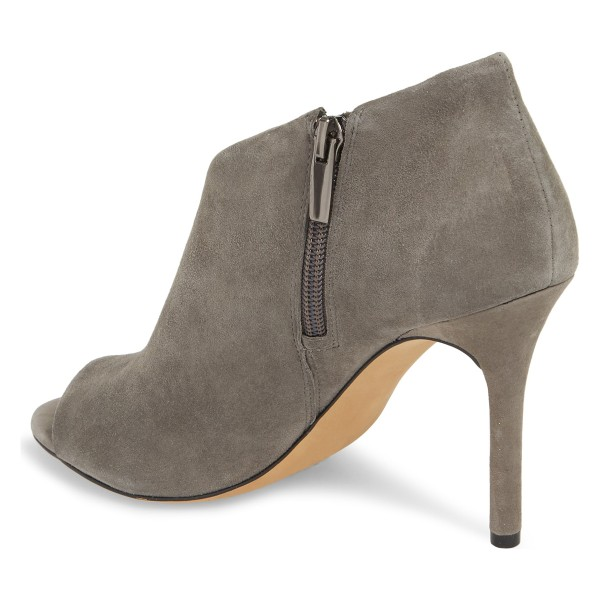 Grey Suede Peep Toe Booties Stiletto Heel Ankle Boots image 2