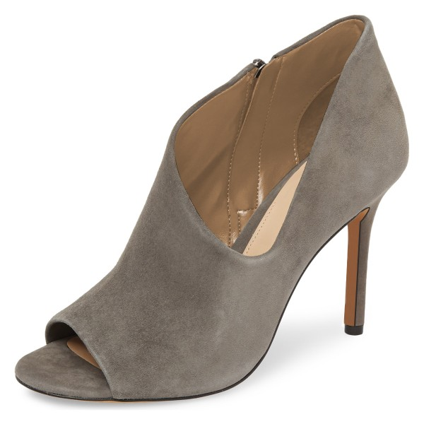 Grey Suede Peep Toe Booties Stiletto Heel Ankle Boots image 1