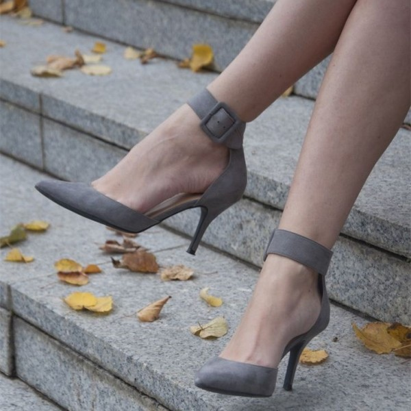 Grey Suede Pointy Toe Ankle Strap Heels  Buckle Pumps image 1