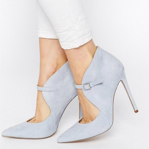 Grey Suede Shoes Pointy Toe Cut out Stiletto Heel Pumps for Women image 1