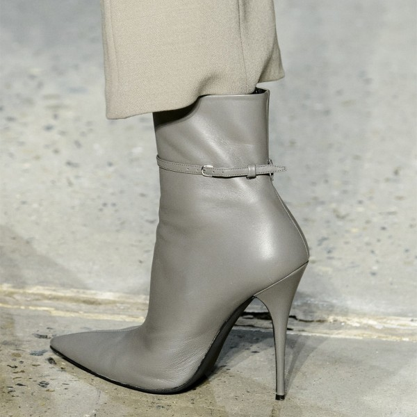 Grey Vegan Leather Stiletto Boots Pointed Toe Buckle Ankle Booties image 1