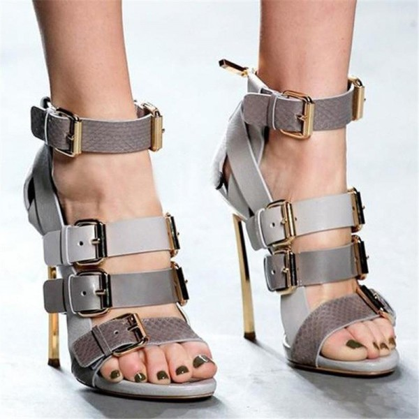 Grey Vegan Shoes Open Toe Multi-buckle Blade Heel Sandals image 2