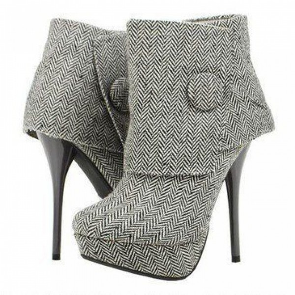 Women's Grey Fashion Boots Stiletto Heels Ankle Booties with Platform image 1