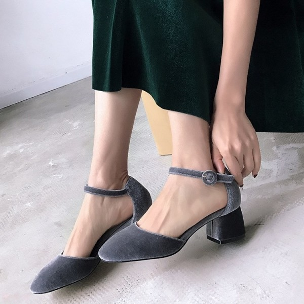 Grey Velvet Block Heels Vintage Closed Toe Ankle Strap Heels Pumps image 1