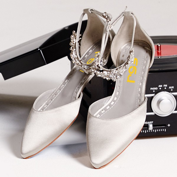 Grey Flat Wedding Shoes Satin Pointy Toe Rhinestone Ankle