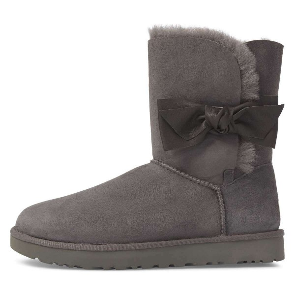 Grey Winter Boots Flat Suede Comfy Mid Calf Snow Boots US Size 3-15 image 1