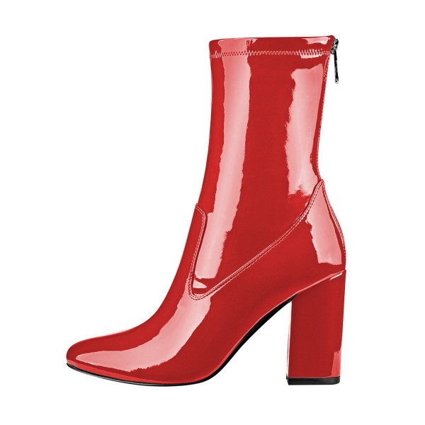 Red Chunky Heel Boots 4 Inches Mirror Leather Round Toe Ankle Boots image 3