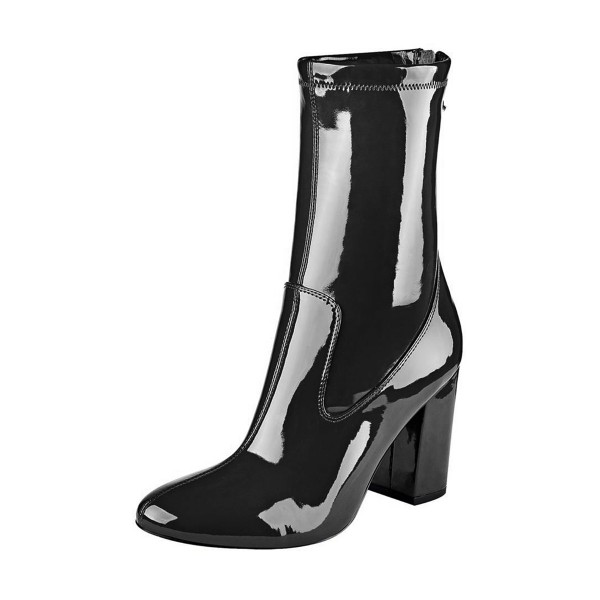 Womens Black Patent Leather 4 Inches Chunky Heel Boots Image