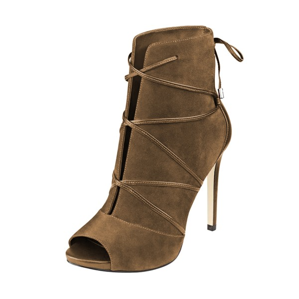 FSJ Brown Stiletto Boots Peep Toe Suede Strappy Booties image 1