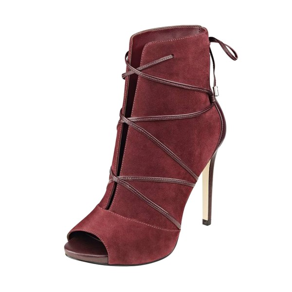 FSJ Maroon Stiletto Boots Strappy Peep Toe Suede Ankle Booties image 1