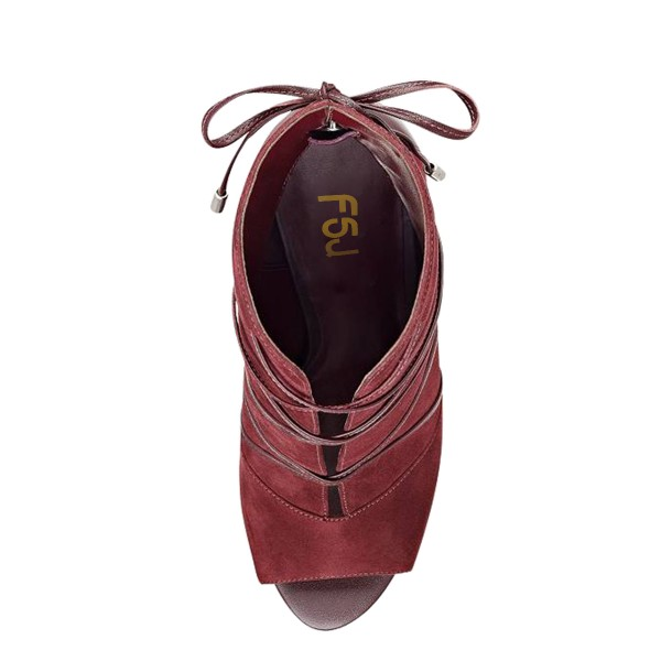 FSJ Maroon Stiletto Boots Strappy Peep Toe Suede Ankle Booties image 2