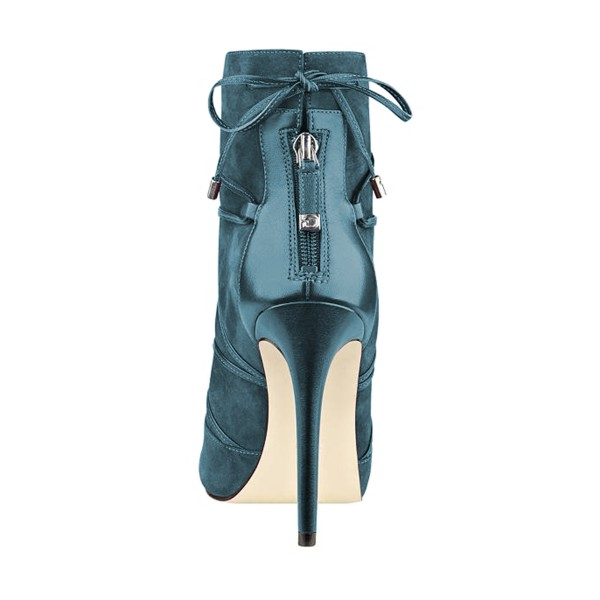 Teal Shoes Strappy Peep Toe Booties Suede Stiletto Ankle Boots image 2