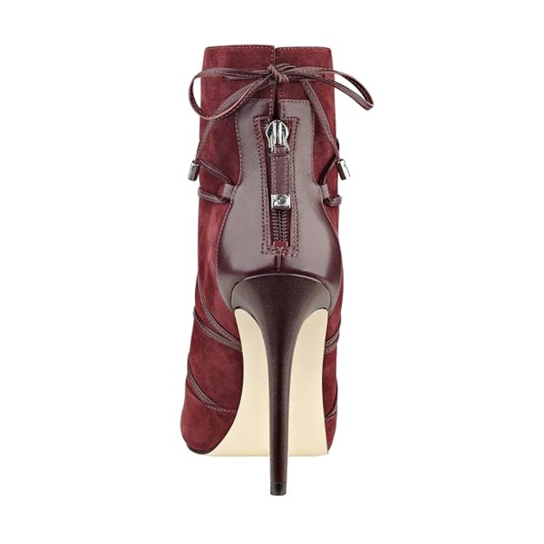 FSJ Maroon Stiletto Boots Strappy Peep Toe Suede Ankle Booties image 3