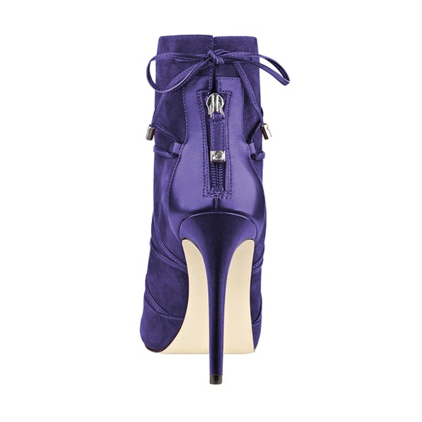 Purple 4 Inches Stilettos Peep Toe Strappy Ankle Booties for Women image 2