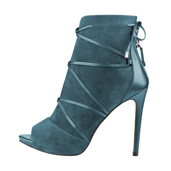Teal Shoes Strappy Peep Toe Booties Suede Stiletto Ankle Boots image 4