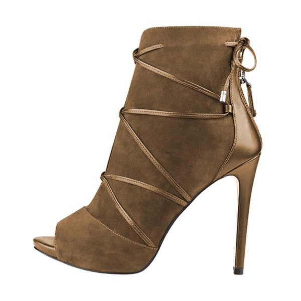 FSJ Brown Stiletto Boots Peep Toe Suede Strappy Booties image 4