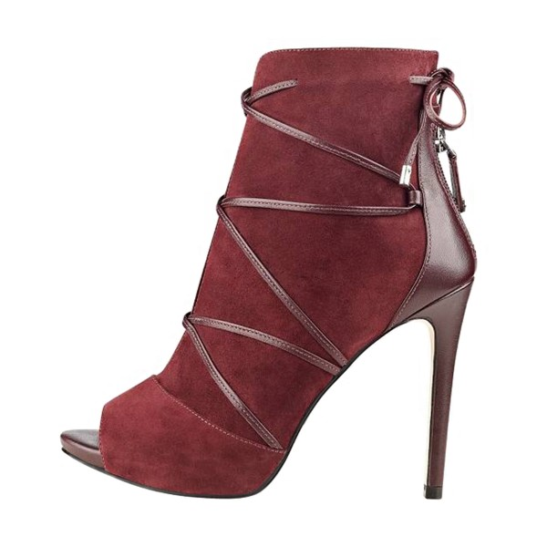 FSJ Maroon Stiletto Boots Strappy Peep Toe Suede Ankle Booties image 4