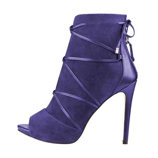 Purple 4 Inches Stilettos Peep Toe Strappy Ankle Booties for Women image 4