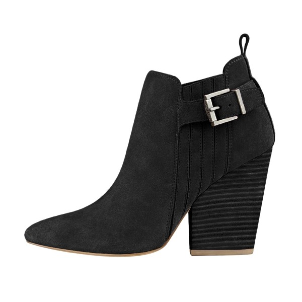 Women's Suede Black Almond Toe Buckle Chunky Heel Boots image 3