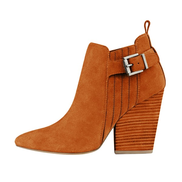 Women's Suede Orange Almond Toe Buckle Chunky Heel Boots image 2