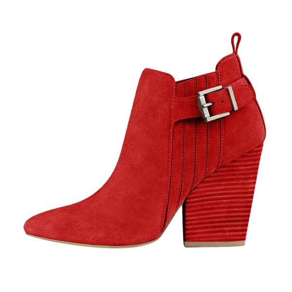 Women's Suede Red Almond Toe Buckle Chunky Heel Boots image 3