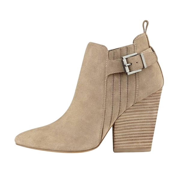 Taupe Boots Closed Toe Wooden Chunky Heel Office Short Boots image 3