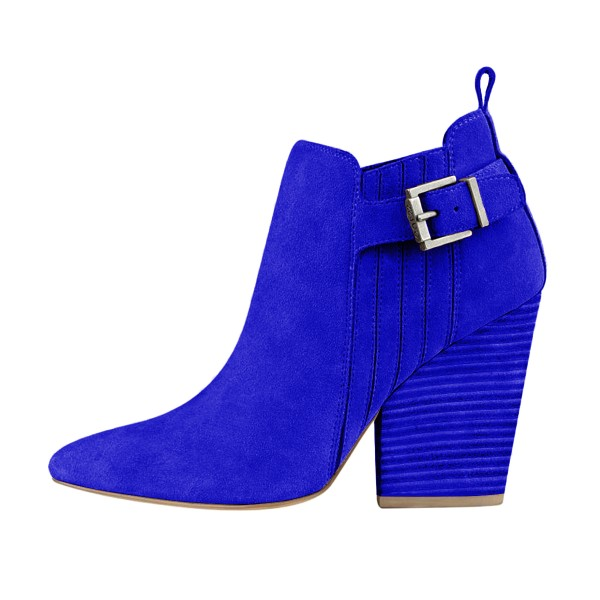 Women's Suede Royal Blue Almond Toe Buckle Chunky Heel Boots image 3