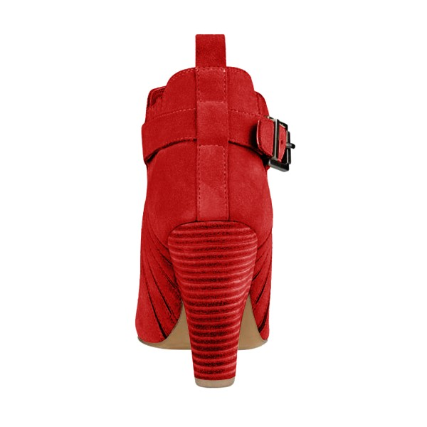 Women's Suede Red Almond Toe Buckle Chunky Heel Boots image 2