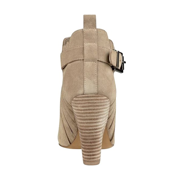 Taupe Boots Closed Toe Wooden Chunky Heel Office Short Boots image 2