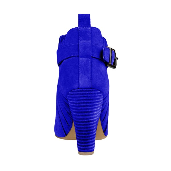 Women's Suede Royal Blue Almond Toe Buckle Chunky Heel Boots image 2